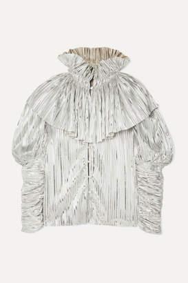 Rodarte Ruffled Pleated Lamé Blouse - Silver