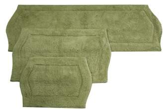 Waterford Home Weavers Inc 3 PIECE BATH RUG SET 17X24 21X34 22X60 GREEN
