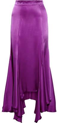 Juan Carlos Obando Vermont Asymmetric Pleated Silk-charmeuse Midi Skirt - Purple
