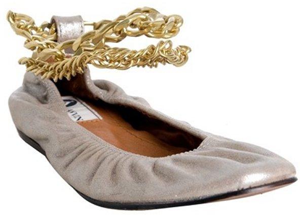 Lanvin silver lambskin chain ankle flats
