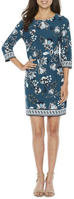 Studio 1 3/4 Sleeve Floral Shift Dress-Petite