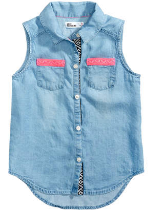 Epic Threads Sleeveless Chambray Shirt, Little Girls, Created for Macy's