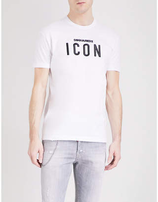 DSQUARED2 Icon-embroidered cotton-jersey T-shirt