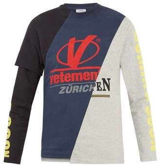 Vetements - Long Sleeved Patchwork Panel T Shirt - Mens - Multi