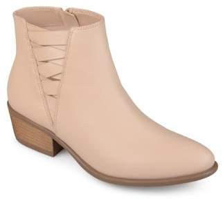 Brinley Co. Women's Faux Leather Stacked Heel Almond Toe Booties