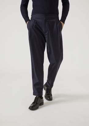 Emporio Armani Trousers In Pure Wool Pinstripe Fabric