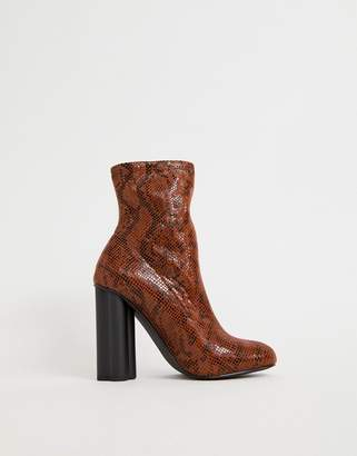 Eliza J Asos Design ASOS DESIGN heeled sock boots in snake