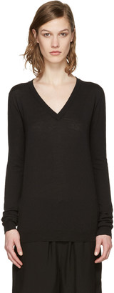 Rick Owens Black V-Neck Lupetto Sweater $460 thestylecure.com