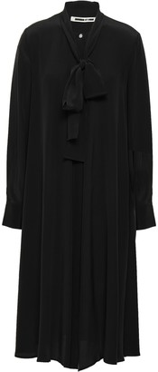 McQ Crystal-embellished Pussy-bow Silk Crepe De Chine Shirt Dress
