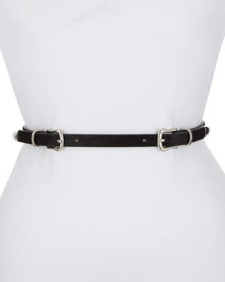 Veronica Beard Luma Double-Buckle Calf Hair Belt