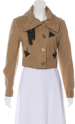 Burberry Leather-Trimmed Cropped Jacket w/ Tags