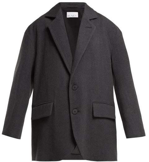 Oversize Single Breasted Wool Blend Blazer - Womens - Grey