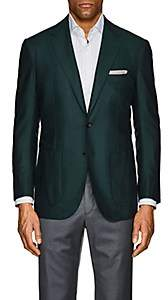 Sartorio SARTORIO MEN'S PG HERRINGBONE SILK-WOOL TWO-BUTTON SPORTCOAT - GREEN SIZE 40 R