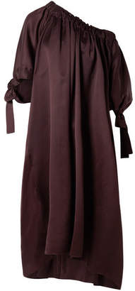 The Row Libby Oversized Tie-detailed Gathered Cupro Maxi Dress - Merlot