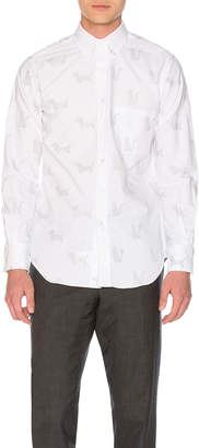 Thom Browne Button Down with Thom Cat and Hector Embroidery