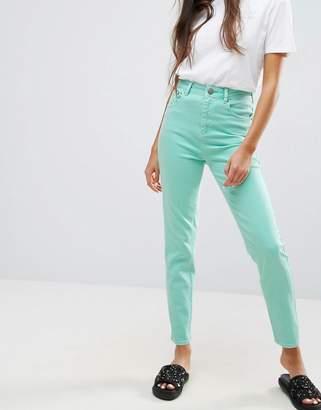 Asos Design FARLEIGH High Waist Slim Mom Jeans in Mint Green