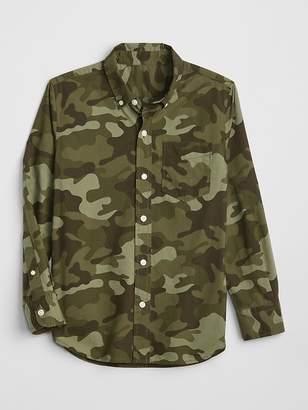 Gap Poplin Camo Long Sleeve Shirt
