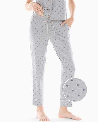 Cool Nights Satin Trim Ankle Pajama Pants Winsome Dot Opal Gray
