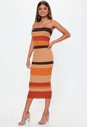 Missguided Camel Colourblock Striped Bandeau Knit Midaxi Dress