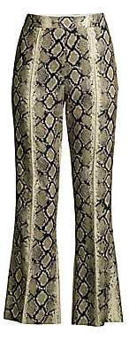 we11done Women's Python Cropped Flare Pants