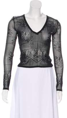 Christian Dior Open Knit Long Sleeve Top