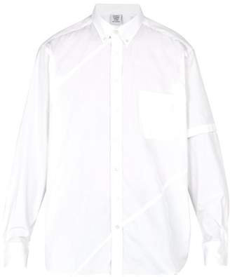 Vetements Logo Embroidered Patch Pocket Cotton Shirt - Mens - White