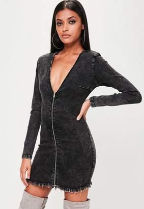 Missguided Black Power Shoulder Denim Mini Dress