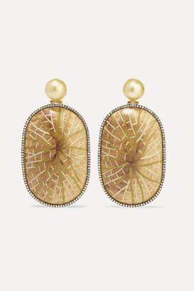 Silvia Furmanovich Marquetry 18-karat Gold, Wood, Diamond And Pearl Earrings