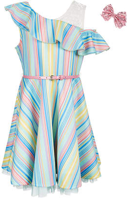 Beautees Big Girls 2-Pc. Ruffle-Trim Skater Dress & Hair Bow Set