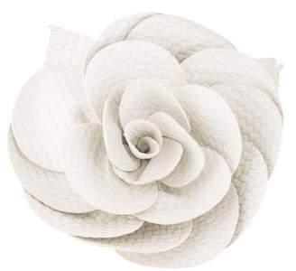 Chanel Woven Lambskin Camellia Brooch