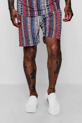 boohoo Aztec Tribal Print Mid Jersey Shorts