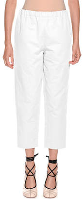 Marni Pull-On Crop Straight-Leg Poplin Pants