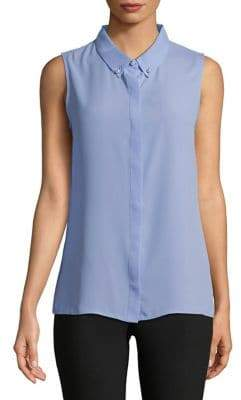 Karl Lagerfeld Paris Faux Pearl-Embellished Button-Down Shirt