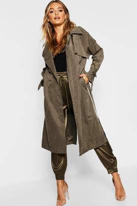 boohoo Suedette Belted Trench