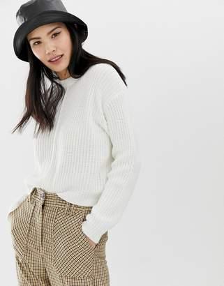 Bershka seam front jumper in white