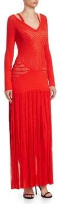 Roberto Cavalli Cut-Out Knit Long Sleeve Gown