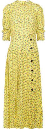 Alessandra Rich - Pleated Floral-print Silk Crepe De Chine Midi Dress - Bright yellow