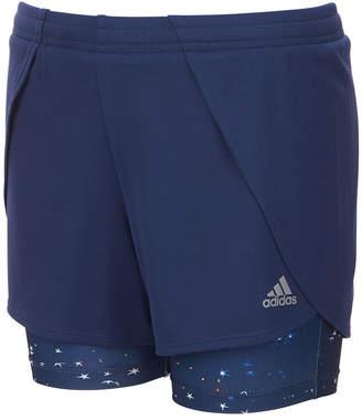 adidas Toddler Girls Layered-Look Mesh Shorts
