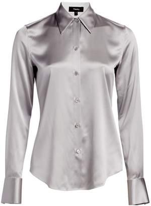 Theory Satin Button-Down Shirt