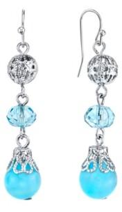2028 Silver-Tone Blue Beaded Drop Earrings