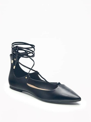 Pointed-Toe Lace-Up Flats for Women $29.94 thestylecure.com