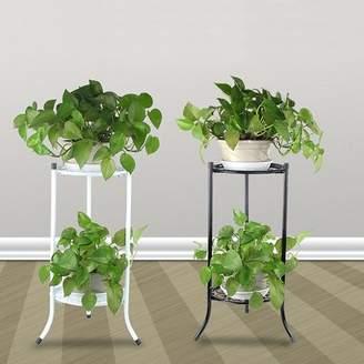 Kadell Indoor/Outdoor 2-Tier Metal Flower Stand Shelf Holder Decorative Plant Stand Rack Pot w/Tray Design Garden & Home Black