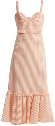 Luisa Beccaria Bow-detail linen-blend striped dress