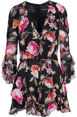 Nicholas Ruffle-trimmed Floral-print Silk-georgette Playsuit