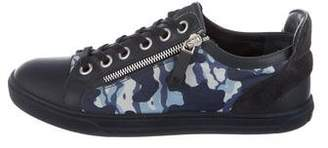 Louis Vuitton Camouflage Leather-Trimmed Sneakers