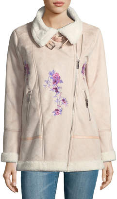 Free Generation Embroidered Faux-Shearling Jacket