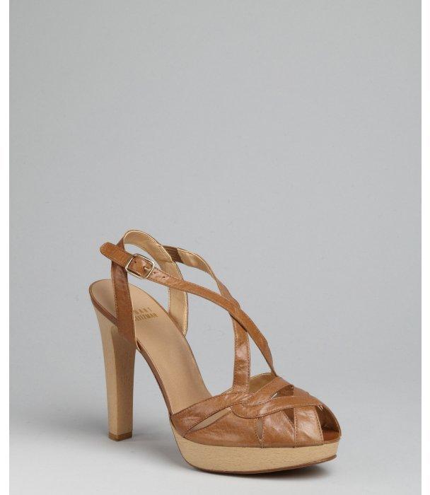 Stuart Weitzman tan leather 'Across' platform slingback sandals