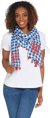 Joan Rivers Classics Collection Joan Rivers Gingham Scarf with Tassels and Floral Embroidery