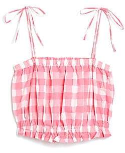 MDS Stripes Women's Gingham Cropped Cotton Cami - Size 0