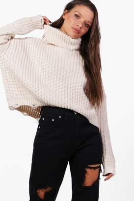 boohoo Distressed Roll Neck Oversized Jumper